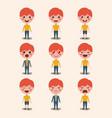 little boys emoticon set kawaii characters vector image