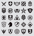 Military icons symbol set on gray