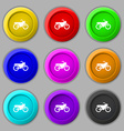 Motorbike icon sign symbol on nine round colourful vector image vector image