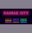 neon name of kansas city vector image