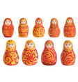 nesting doll icons set cartoon style vector image