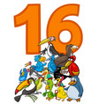 number sixteen and cartoon birds group vector image vector image