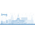 outline lansing michigan city skyline with blue vector image vector image