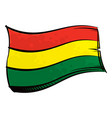 painted bolivia flag waving in wind vector image vector image