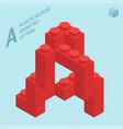plastic blocs letter a vector image vector image