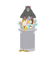 rat in garbage can rodent in trash big mouse in vector image vector image