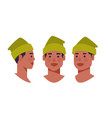 set guy head avatar front side view male african vector image