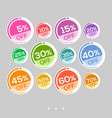 set of abstract colorful round sale stickers vector image vector image