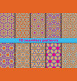 set of ten geometric seamless patterns vector image vector image