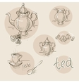 set of vintage hand drawn tea sketch vector image vector image
