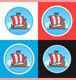 set round emblems with drakkars vector image vector image