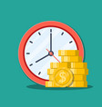 time is money concept office clock and money vector image vector image
