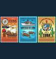 travel to cuba caribbean resort retro poster vector image vector image