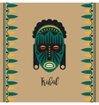 Tribal style card with green mask vector image