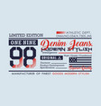 typography denim for t-shirt printing vector image vector image