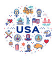 usa linear icons circle infographics american vector image
