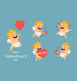 valentines day greeting card with cute cupid set vector image vector image