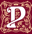 vintage letter P vector image