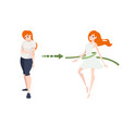 weight loss concept with red head woman body vector image vector image