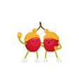 winter fruit cherries hugging singing vector image vector image