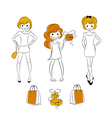 Shopping girls with sale bags vector image
