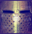 background with blurred medieval helmet and label vector image