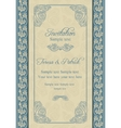 Baroque wedding invitation beige and blue vector image vector image