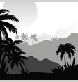 beautiful monochrome tropical landscape with palm vector image