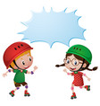 border template with two kids skating vector image vector image