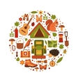 cartoon eco tourism icons camping set vector image