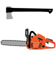 Chainsaw and axe vector image vector image