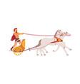 chariot racing roman gladiator in wheel cart vector image vector image