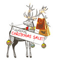 christmas card with deer holding banner christmas vector image vector image