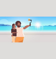 couple standing together sea beach african vector image vector image