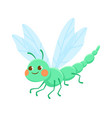 cute green smiling dragonfly on white background vector image