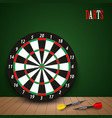dart boards with colored steel darts on green vector image