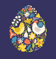 easter egg shape filled with chicken and flowers vector image vector image
