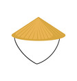 flat of classic asian conical hat made of vector image vector image