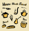 food and utensils hand drawing vector image vector image