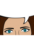 girl face with blank speech bubble for text vector image vector image