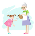 Grandma pours a glass of milk for the girls vector image vector image