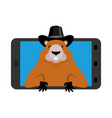 groundhog day marmotin phone woodchuck in gadget vector image vector image