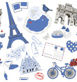 Hand Drawn Background with Paris Symbols vector image vector image