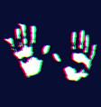 hand print on dark background vector image vector image