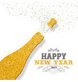 happy new year 2019 champagne bottle golden card vector image vector image