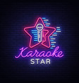karaoke star neon sign luminous logo vector image
