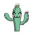 kawaii nice and happy cactus plant vector image vector image