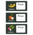 labels with various vegetables and inscriptions vector image