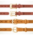 Leather belts with buckles buttoned and unbuttoned vector image vector image
