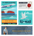mail delivery card of post service transportation vector image vector image